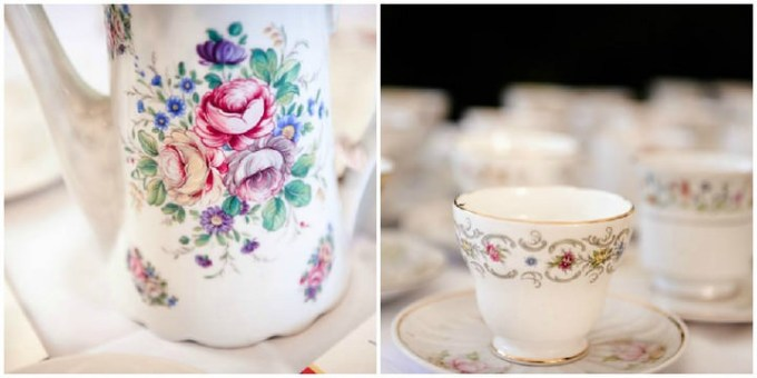 vintage jug and tea cups at a wedding reception