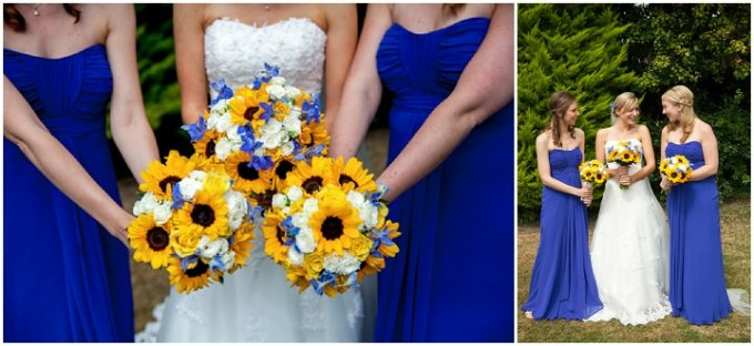 Blue and yellow sunflower wedding by jessica grace for Sunflower dresses for wedding