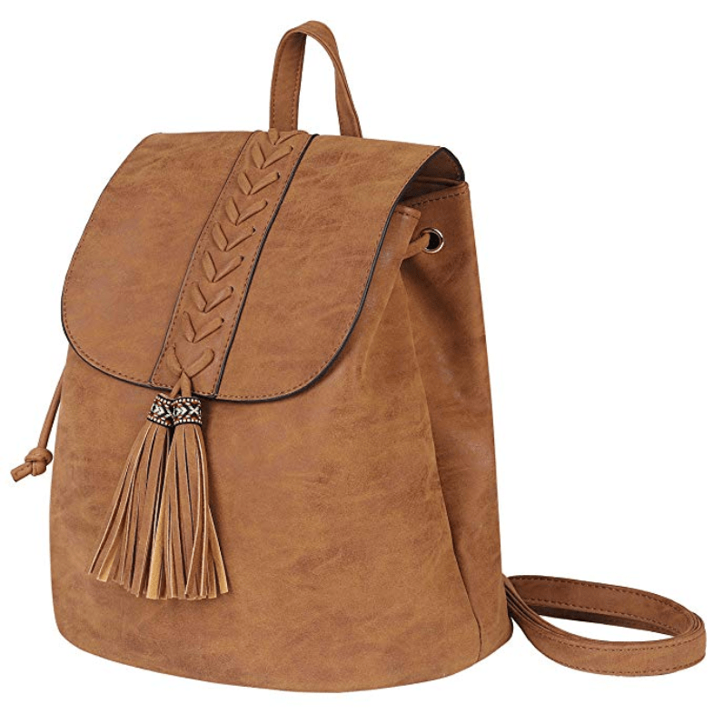 Lady Backpack Casual Rucksack for Women Bohemia Small Bag Waterproof PU with Tassel Vintage Ethnic Style Backpack for Traveling Dating Shopping Brown Holidays Party