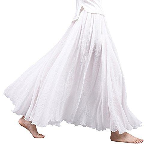 2f4e708d8d Asher Women s Bohemian Style Elastic Waist Band Cotton Linen Long Maxi  Skirt Dress Waist 23.0″-35.0″