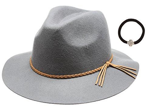 c6096eb3d9b Women s 100% Wool Felt Cloche Short Brim Floppy Fedora Hat with Scrunchy