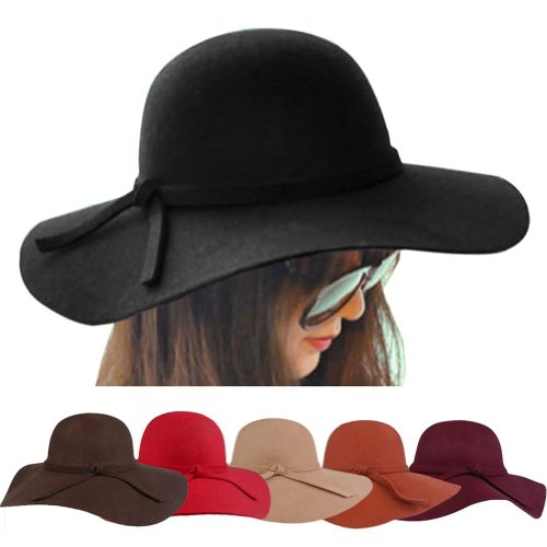 a1064699621 FUNOC Fashion Vintage Women Ladies Floppy Wide Brim Wool Felt Fedora Cloche Hat  Cap