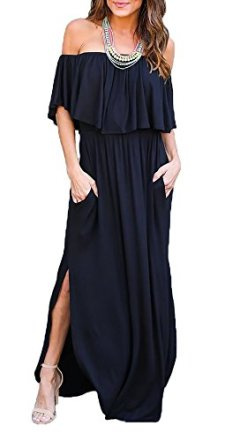 6d2b4f04cab THANTH Womens Off The Shoulder Ruffle Party Dresses Side Split Beach Maxi  Dress