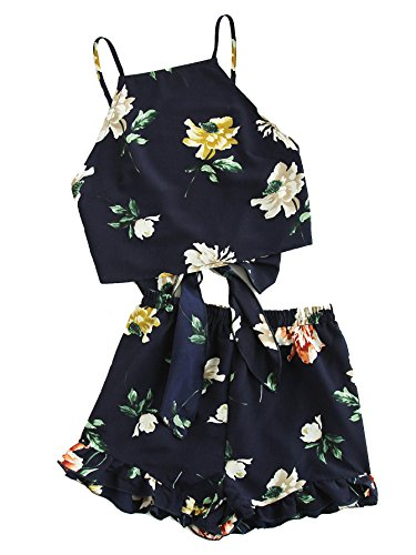 e0e397513f5 SweatyRocks Women s Boho Floral Print Spaghetti Strap Crop Cami Top With  Shorts