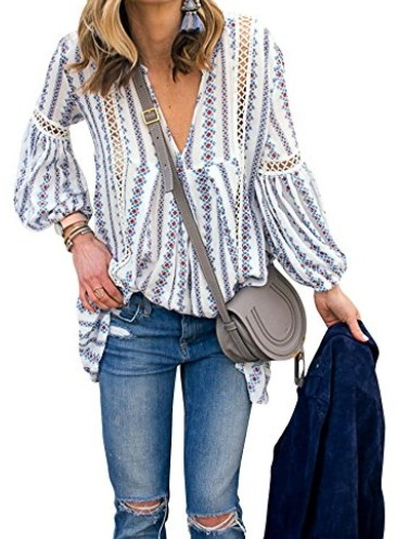 976bdaf97d ZXZY Women Long Sleeve V Neck Hollow Out Floral Print Shirt Tops Long Blouse  Tee