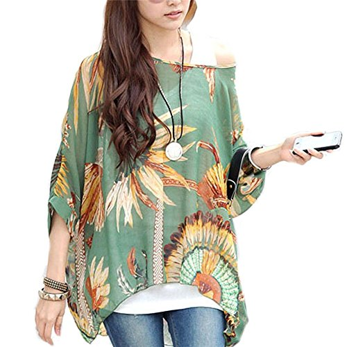 b7ff1dabdc3380 Seven Century Boho Batwing Sleeve Chiffon Blouse Women Casual Floral Print Loose  Shirts Plus Size Beach Tunic Tops