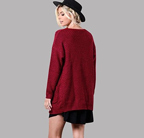 1789967d0e Anself Women s Open Front Chunky Warm Cardigan Sweater Boho Long Sleeve  Loose Cable Knit Outwears with Pockets