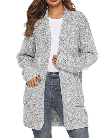 8bd78ad050 Women s Casual Sweater Cardigan Open Front Long Sleeve Cable Knit Sweater  Pockets