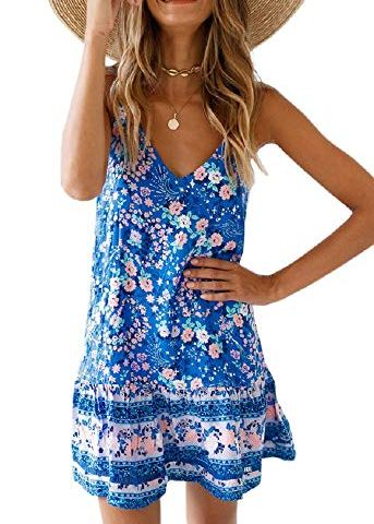 a58dc49cb216ad Womens Floral Spaghetti Strap Short Dress Boho V Neck Mini Beachwear Dress  Sundress