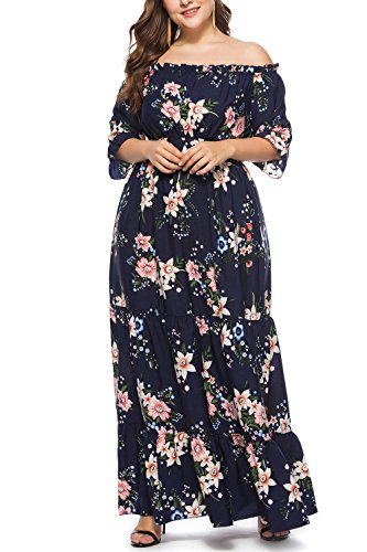 Malbaba Womens Summer Long Sleeve Floral Long High Waisted Flare Maxi Dresses