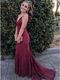 Mermaid Scoop Backless Sweep Train Burgundy Lace Prom ...
