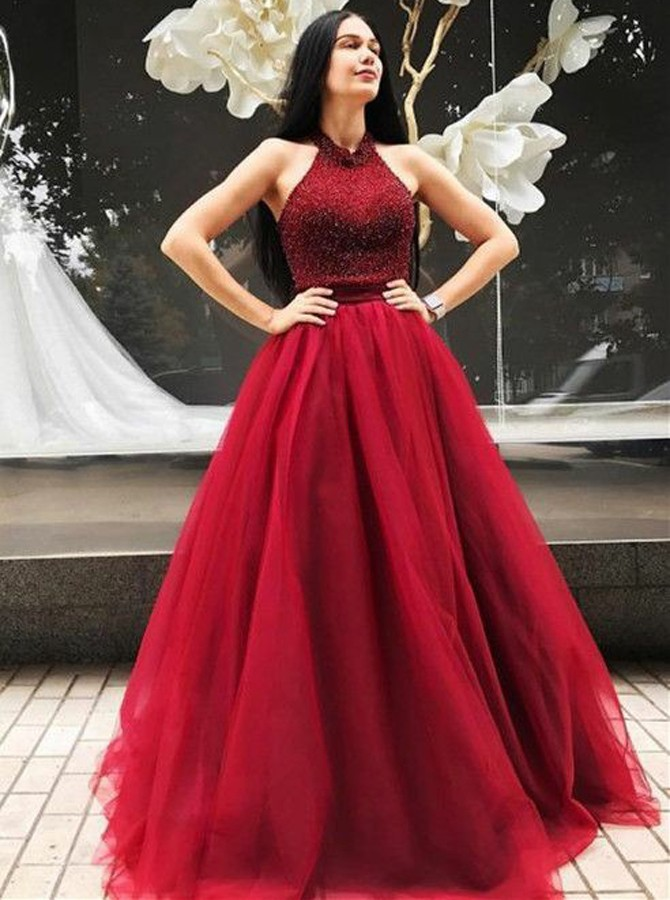 ALine Halter Backless Sweep Train Red Prom Dress with