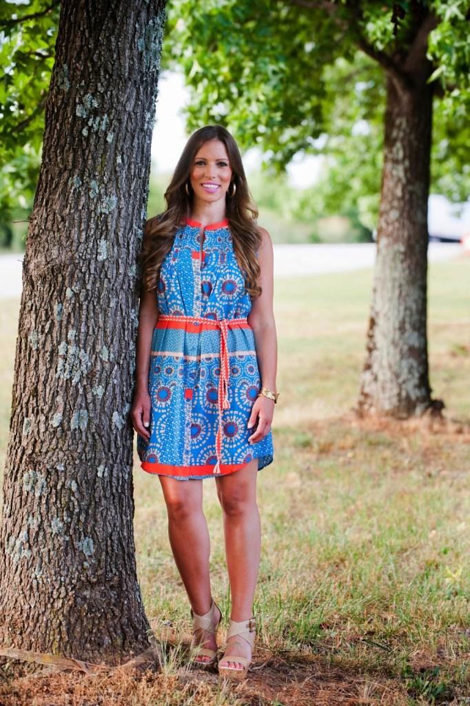 Teal Boutique Printed Shirt Dress