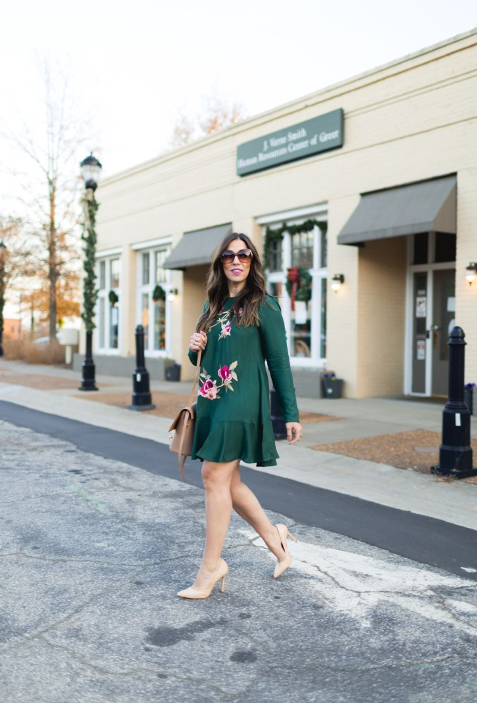 GREEN FLORAL DRESS + ZAC POSEN BELAY BAG