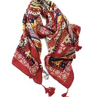 Persun Women Multicolor Ethnic Print Tasseled Scarf Shawl