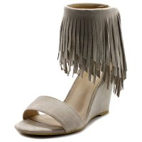 Ollio Womens Shoe Fringe High Heel Wedge Sandal