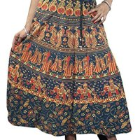 Women,s Peasant Skirts Blue Animal Print Mogul Maxi Skirt Boho Chic
