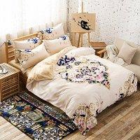 Hughapy® Cotton Flower Boho Stripe Bedding Sets Jaipur Bed Linens Rainbow Colorful Duvet Cover Sets Without Comforter (Full, 1 Flat Sheet +1 Duvet Cover+2 Pillowcases),#002