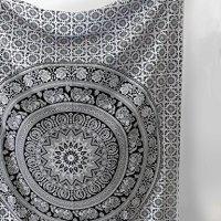 SheetKart Black and White Tapestry Elephant Mandala Hippie Indian Traditional Throw Beach Throw Wall Art College Dorm Bohemian Wall Hanging Boho Twin Small Bedspread