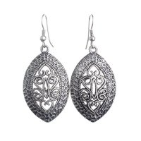 Lureme Ethnic Jewelry Antique Silver French Hook Hollow Out Design Oval Pendant Dangle Earrings(02004292)