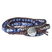 Tree of Life Bracelet Blue Beaded Wrap