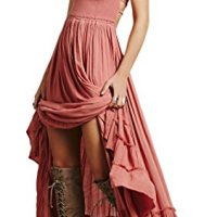 R.Vivimos® Women Summer Cotton Sexy Blackless Long Dresses