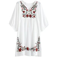 AsherFashion White Mexican Embroidered Peasant Dressy Tops Blouses