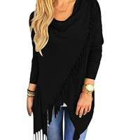 Women's Tassel Hem Crew Neck Knited Wraps Sweater Coat Outwear