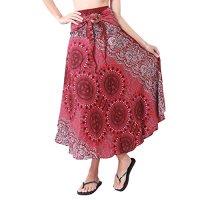 Rita & Risa Women's Boho Hippie Circle and Flowers Design Harem Skirt