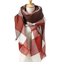 Menglihua Soft Classic Plaid Tartan Cashmere Feel Large Blanket Scarf Wrap Shawl