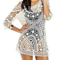 Bestyou® Women's Floral Lace Crochet Cover up Tunic Beachwear Tops Shirts XS-M