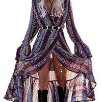 R.Vivimos Women Summer Long Sleeve Cardigan Sexy Maxi Long Dresses