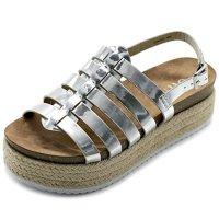 Ollio Women's Shoe Gradiator Boho Sling Back Espadrilles Platform Sandals