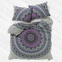 "Exclusive Queen Indian Mandala Duvet cover WITH PILLOWCASES By ""MADHU INTERNATIONAL, Mandala quilt cover, Boho duvet cover"