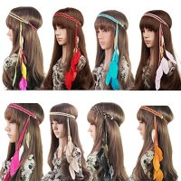 BUYITNOW Women Feather Headband Stretchy Braided Leaf Bead Hair Tassels
