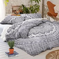 Exclusive Sophia Art Queen Size Ombre Mandala Duvet Cover With Pillowcases, Indian Donna Cover Set Boho Duvet Cover. Bohemian Bedspread (Grey)