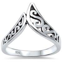 Sterling Silver Trendy! Chevron Swirl Plain V Shape Ring Sizes 5-10