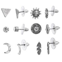 Lux Accessories Burnish Silver Tone Boho Novelty Sun Moon Multi Earring Set 6PC