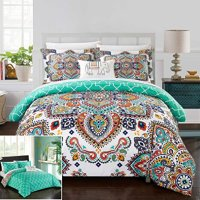 Chic Home 8 Piece Maddox Reversible Boho-inspired print and contemporary geometric patterned technique Queen Bed In a Bag Duvet Set Aqua