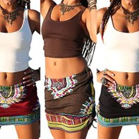 Womens African Printed Ethnic Dashiki Skirt Boho Ethnic Short Summer Beach Skirt