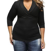 Just for Plus Women's Black Deep V Fitted Rubbed Knit Plus Size Top Bodycon Blouse