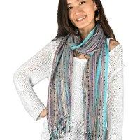 Women Soft Blue Shimmer Sparkle Scarf Colorful Boho Hippie Tassel Wrap Fringe Summer