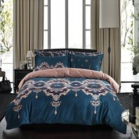 "Bohemian Bedding Luxury Bohemain Baroque Duvet Cover Set Blue/Brown Floral Reversible Pattern King(104""x90"")-3 Pieces-(1 Duvet Cover+2 Pillowcases)-120 gsm Soft Microfiber Bedding Set by Moreover"