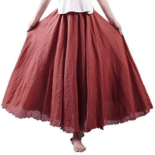 Kafeimali Women Bohemian Cotton Linen Double Layer Elastic Waist Long Maxi Skirt
