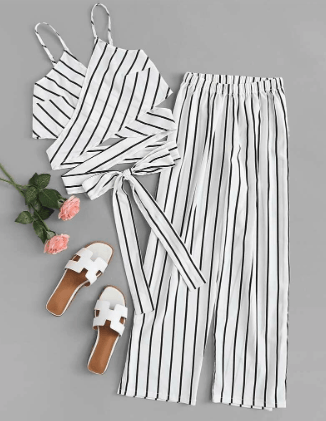 striped white linen pants set to wear in the florida keys