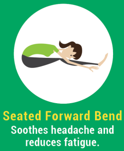 Yoga poses like the Seated Forward Bend can help relieve feelings of fatigue.