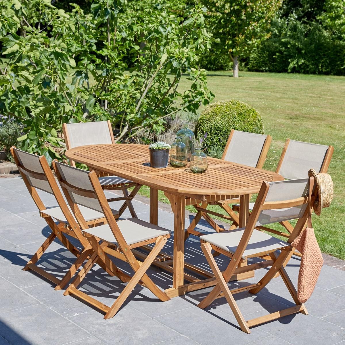 salon de jardin extensible en bois d acacia gris 6 8 places hanoi