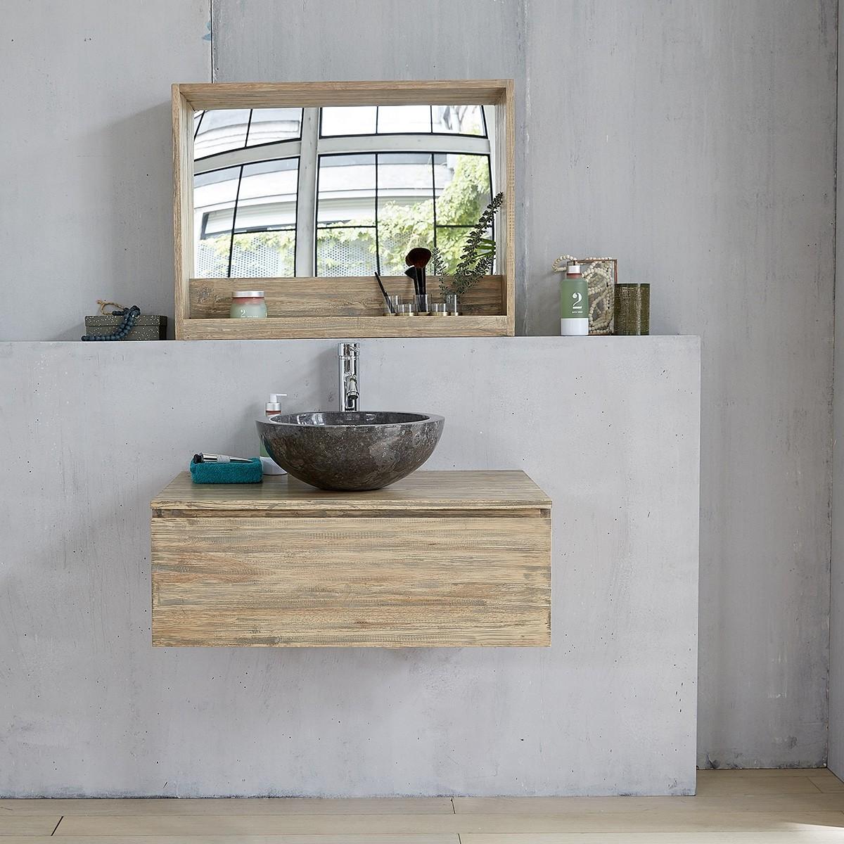 meuble de salle de bain suspendu en bois d hevea 1 tiroir 80 malo