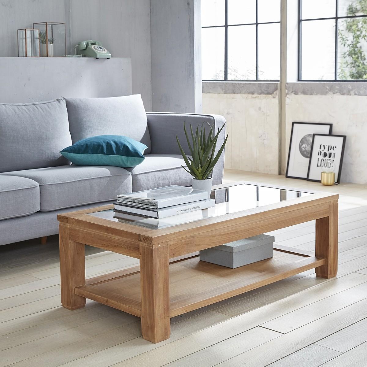 table basse rectangulaire vitree en teck brut 120 boston