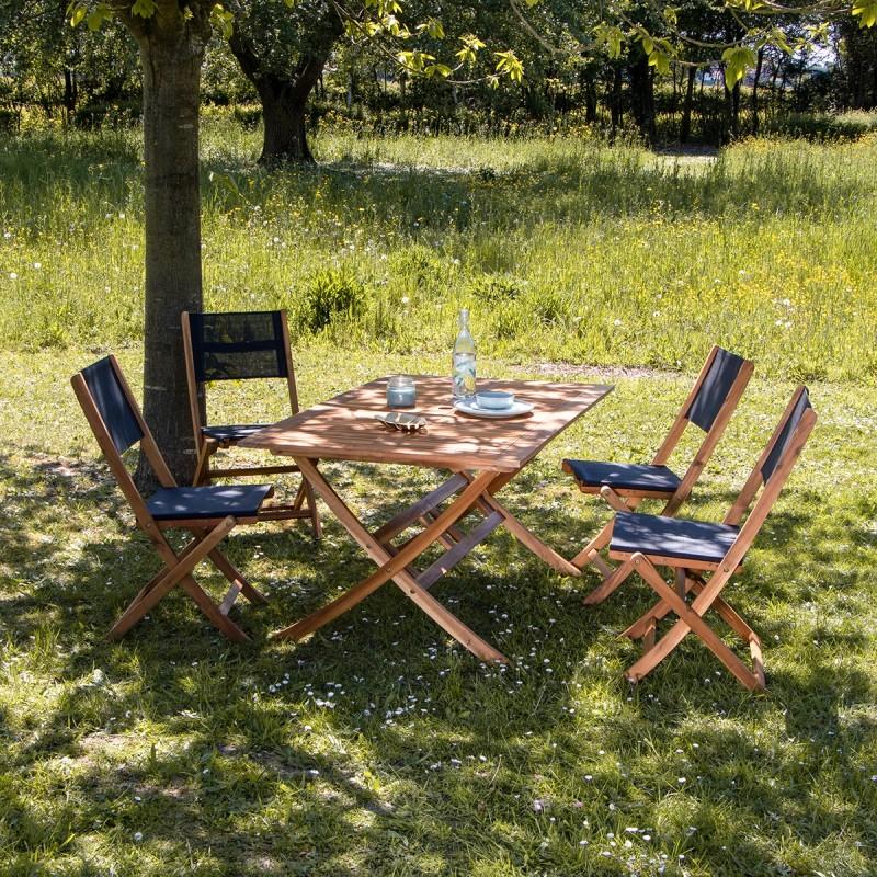 salon de jardin en bois d acacia noir 4 places hanoi
